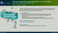 Welcome and Introduction to the Financial Operations Management, Levell Course  icon