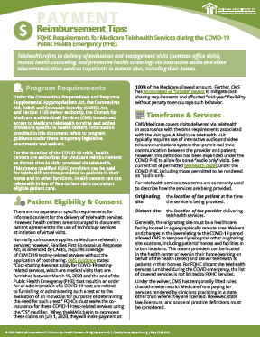 Payment Reimbursement Tips: FQHC Requirements for Medicare Telehealth Services during the COVID-19 Public Health Emergency (PHE)