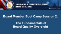 Board Member Boot Camp (Session 2): The Fundamentals of Board Quality Oversight - **Separate Registration Required** icon