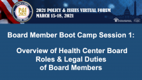 Board Member Boot Camp (Session 1): Overview of Health Center Board Roles and Legal Duties of Board Members - **Separate Registration Required** icon
