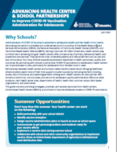 Advancing Health Center and School Partnerships to Improve COVID-19 Vaccination Administration for Adolescents