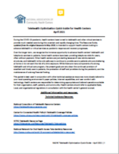 Telehealth Optimization Quick Guide for Health Centers (April 2021)