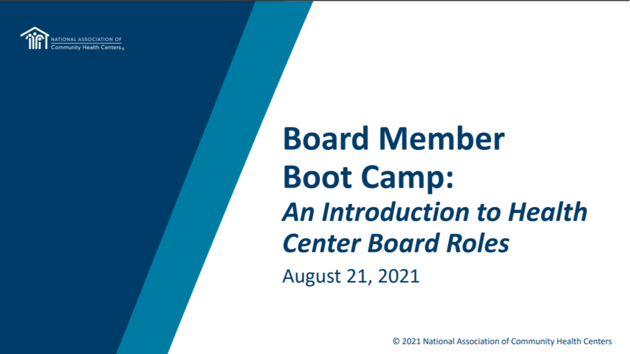 Board Member Boot Camp Part 1: Overview of Health Center Board Roles and Legal Duties of Board Members icon
