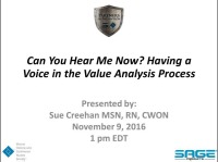 Can You Hear Me Now? Having Your Voice Heard in the Value Analysis Process icon