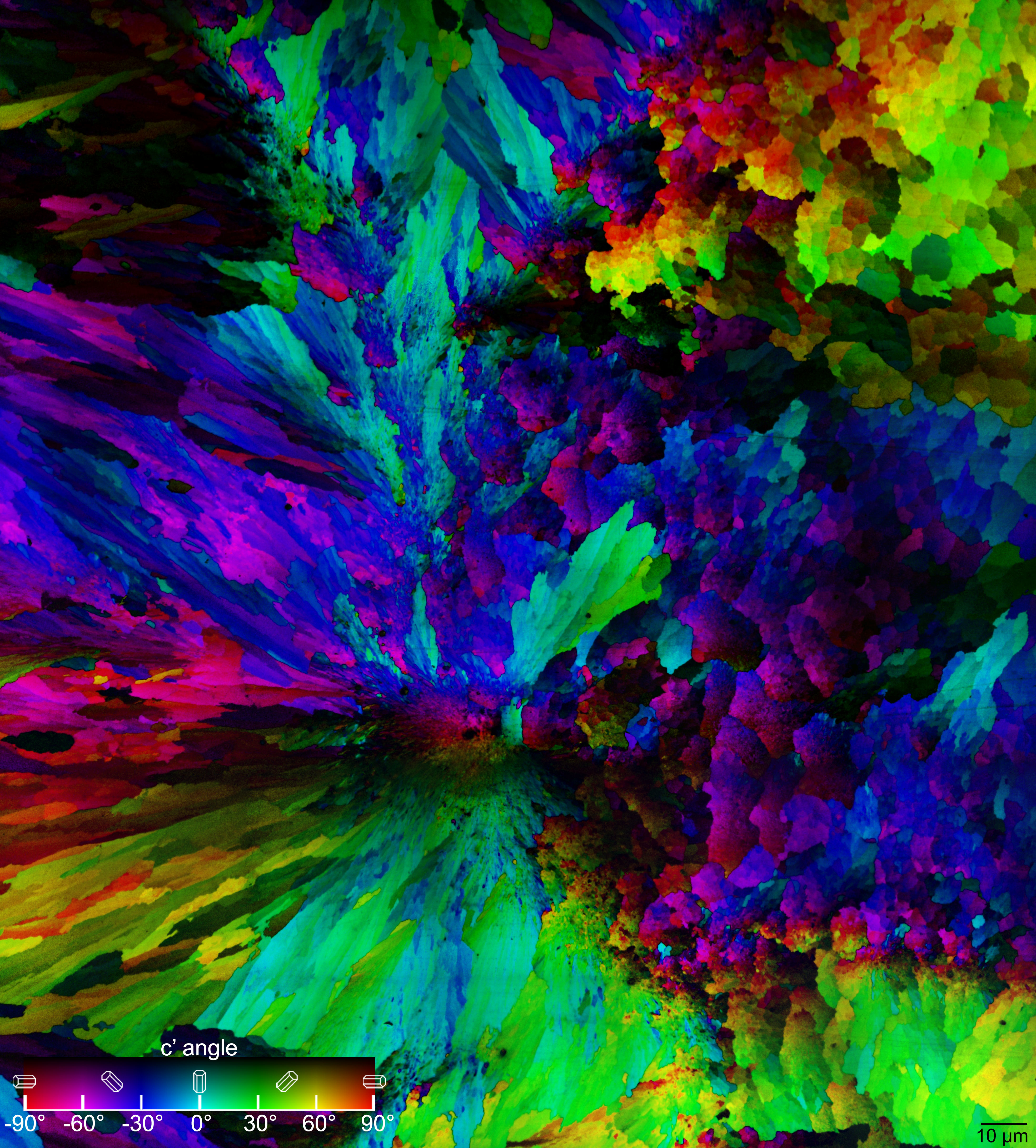 <b>Coral spherulites</b><br /> Crystal orientations in a coral skeleton, as measured and displayed in color by Polarization-dependent Imaging Contrast (PIC) mapping with 20-nm resolution.<br /> Data from Acta Biomaterialia 2021, DOI: 10.1016/j.actbio.2020.06.027